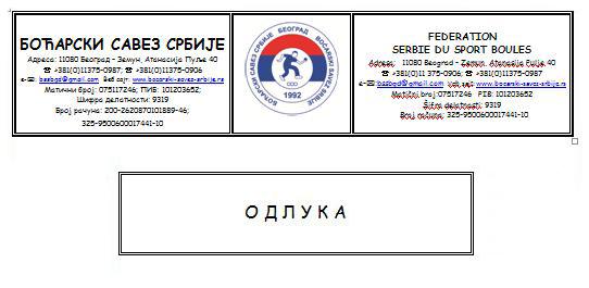 Odluka UO Boćarskog saveza Srbije